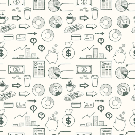 tiling background: Seamless pattern with hand drawn business symbols. Tiling background with doodle business icons.