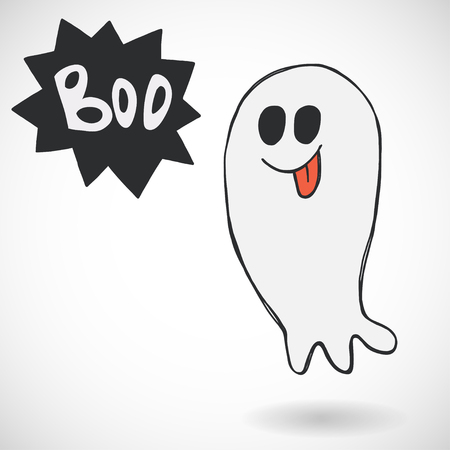 haunt: Spooky cartoon halloween ghost with speech bubble and Boo lettering, isolated on white background. Hand drawn childish illustration.
