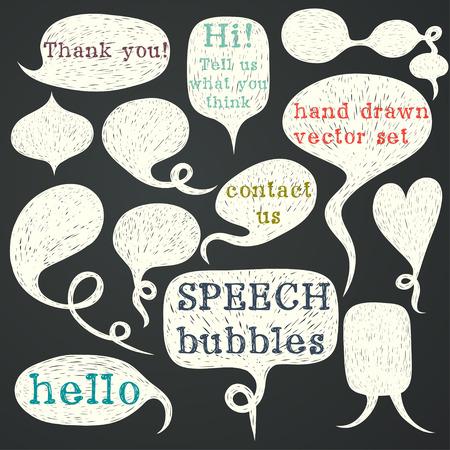 talk bubble: Big set of hand drawn speech bubbles on chalkboard background. Doodle cartoon comic bubbles. Illustration