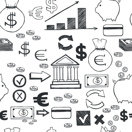 sketched icons: Seamless pattern with money hand sketched icons on white background. Tiling business doodles backdrop.