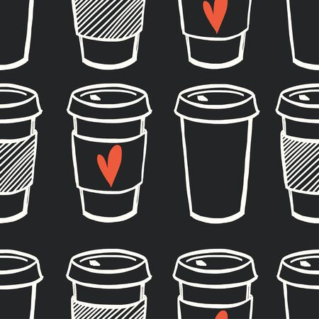 hot drinks: Seamless pattern with hand drawn doodle cups of coffee to go on chalkboard background. Cartoon morning coffee tiling pattern.