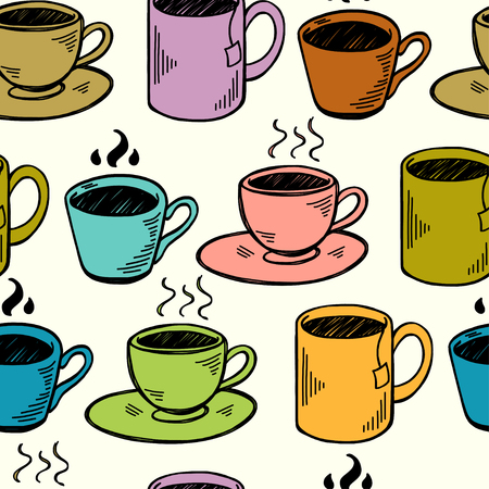 tiling background: Seamless pattern with hand drawn sketchy tea and coffee cups. Coffee break colorful tiling background.