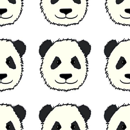 oso panda: Modelo inconsútil con las cabezas lindas dibujados a mano panda. Fondo embaldosado Animal.