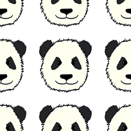 panda: Seamless pattern with cute hand drawn panda heads. Animal tiling background.