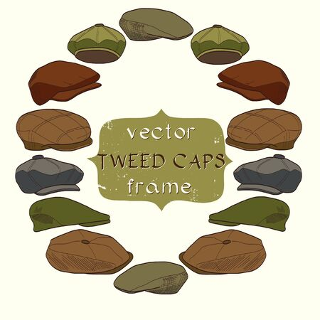 Set of hand drawn sketchy tweed caps. Fashionable cartoon hats on light background with banner for the text in the center of round frame. Stock Illustratie