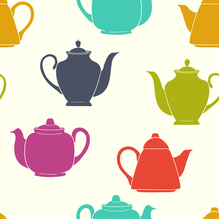 tarde de cafe: Tiling seamless pattern with colorful coffee and teapot silhouettes. Hand drawn doodle afternoon tea background.