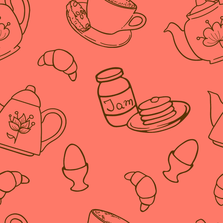hand jam: Breakfast seamless pattern with tea pots, pancakes, jam, eggs, croissants and coffee. Hand drawn tiling background.