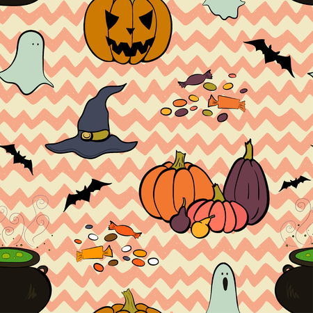 chevron background: Hand drawn halloween seamless pattern with cartoon spooky ghost, pumpkins, bat, Jack-o-lantern, cauldron boiling the potion, witch hat and candies on doodle chevron background.
