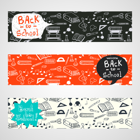 Back to School banners with hand drawn doodle notes, books, paint, pencil, molecules and text box for your message. Illustration