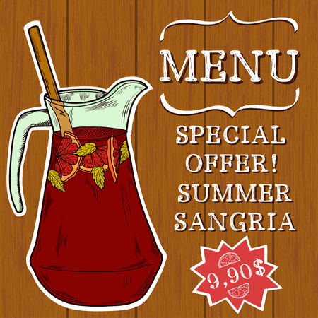 sangria: Doodle hand drawn jug of fresh home made sangria on turquoise wooden background. Cover, brochure or advertising template for restaurant or cafe menu.