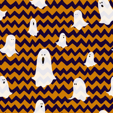 chevron background: Hand drawn halloween seamless pattern with cartoon spooky ghosts on doodle chevron background.
