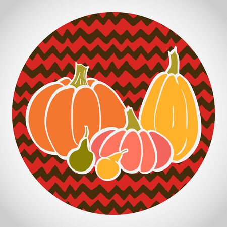 chevron background: Hand drawn colorful pumpkins in circle. Doodle chevron background.