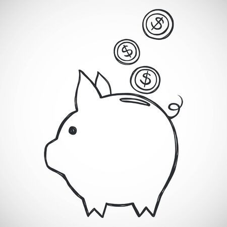 sketched: Hand sketched piggy bank. Freehand sketch of icon for savings. Illustration