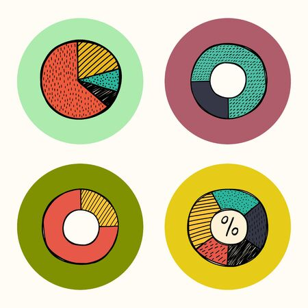 pie diagrams: Set of colorful doodle hand drawn pie diagrams icons, isolated on bright circles.