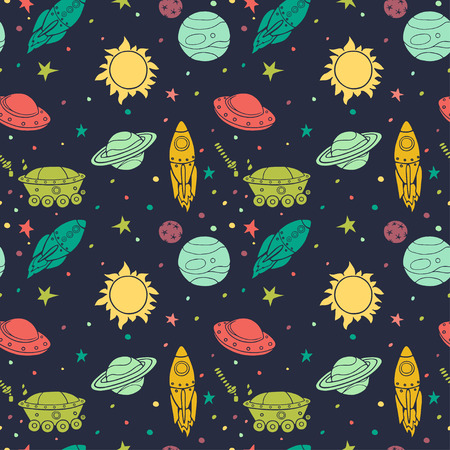 Seamless pattern with hand drawn doodle spaceship, rockets, planets and stars. Childish tiling background.