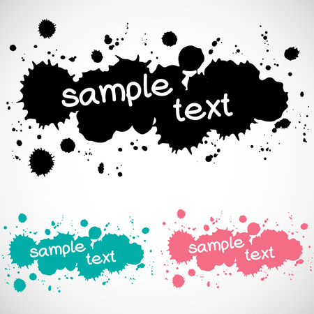 text box: Set of abstract text box made of ink drops, isolated on white background.