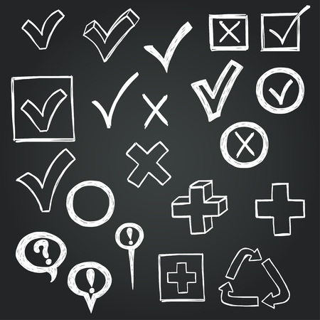 tick symbol: Checkmarks and checkboxes drawn in a doodled style on chalkboard background. Illustration