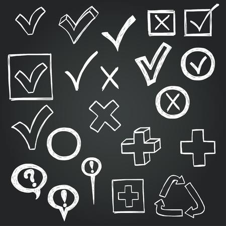 Vinkjes en checkboxes getrokken in een doodled stijl op schoolbord achtergrond. Stock Illustratie