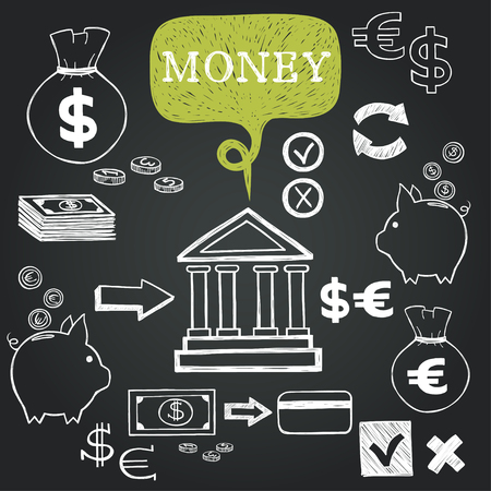 yes or no to euro: Set of hand drawn sketchy business icons on chalkboard background. Money related images.