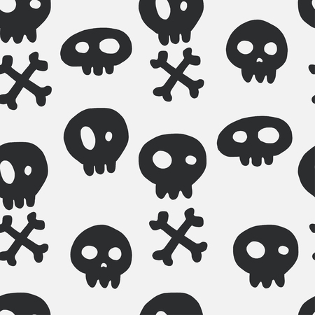 tiling: Halloween seamless pattern with hand drawn doodle skulls and crossed bones. Holiday tiling background. Illustration