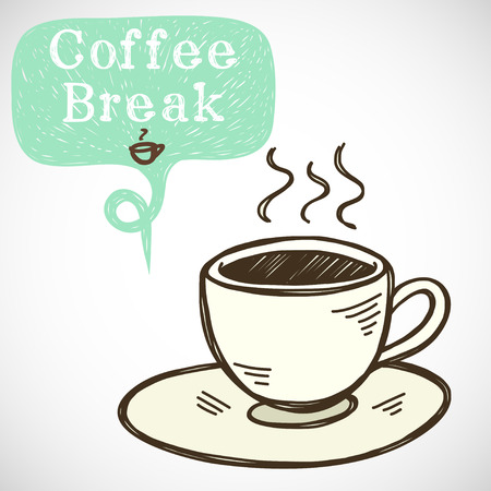 fresh brewed: Coffee break illustration. Hand drawn doodle cup of coffee and sketchy speech bubble for the text, isolated on white background. Illustration