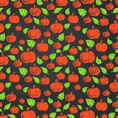 tiling: Seamless pattern with doodle sketched red apples and green leaves on dark background. Hand drawn tiling fruit backdrop. Illustration