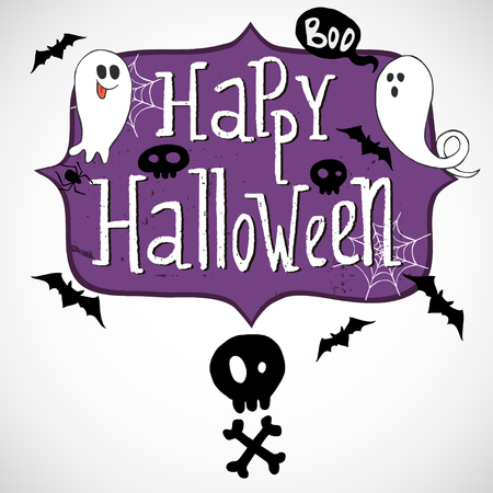 skull with crossed bones: Hand drawn comic frame with Happy Halloween lettering, skull with crossed bones, doodle ghosts, bats and spider web on white background.