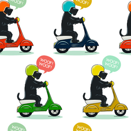 Funny seamless pattern with cute Scottish terrier riding old school scooter. Tiling animal background made of hand drawn cartoon dogs on motorbikes. Vettoriali