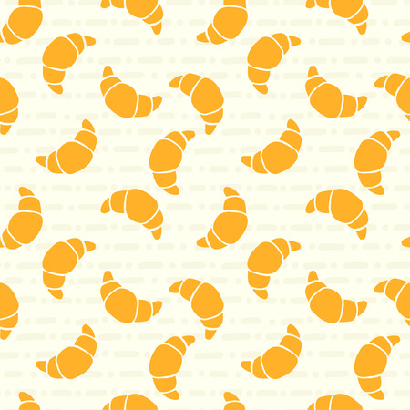 croissants: Food seamless pattern with doodle croissants on hand drawn abstract tiling background.