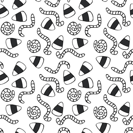 childish: Childish seamless pattern with hand drawn doodle candy corn and worms. Halloween sweets tiling background.