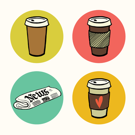 cup: Set of hand drawn doodle coffee break icons isolated on colorful bright circles. Morning newspaper and cup of coffee to go.