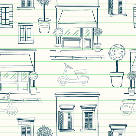 Hand drawn seamless pattern with sketchy shop on the ground floor, potted trees, different windows with shutters and old school scooter on the street. Cartoon city tiling background.