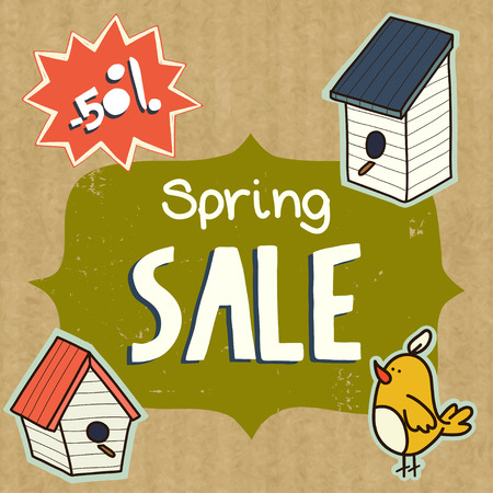 kraft paper: Spring sale illustration with Sale lettering, birdhouses and cute doodle bird, isolated on kraft paper background Illustration
