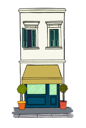 shop floor: Hand drawn sketchy house with shop on the ground floor and two windows with shutters on the first floor.