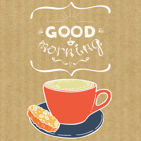 kraft: Cartoon morning cup of coffee. Hand drawn doodle cup of cappuccino and hand written lettering Good Morning, isolated on brown kraft paper background.