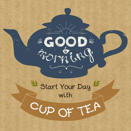 morning tea: Hand drawn silhouette of a tea pot with place for a text in ribbon banner and with hand drawn lettering Good Morning. Vintage style vector illustration on brown kraft paper background. Illustration