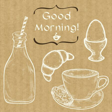 boiled: Hand drawn sketch of morning cup of coffee, boiled egg, bottle of milk and croissant with place for a text isolated on brown kraft paper background.