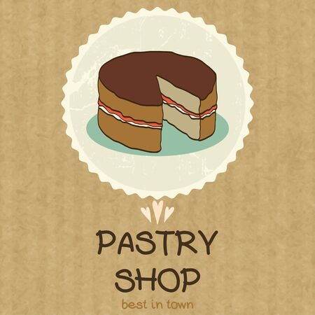 kraft paper: Hand drawn doodle cake without one slice in a badge with place for a text, isolated on kraft paper background.