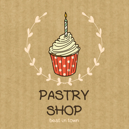 kraft: Cartoon cupcake with candle. Hand drawn doodle muffin in floral frame isolated on brown kraft paper background. Illustration