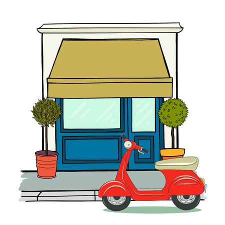 shop floor: Hand drawn sketchy shop on the ground floor with two potted trees and red old school scooter at the entrance. Illustration