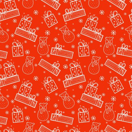winter holiday: Winter holiday seamless pattern with doodle hand drawn presents and snowflakes. Christmas tiling background. Illustration