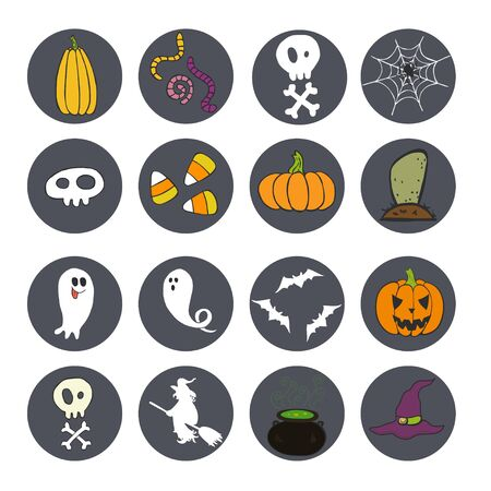 candy corn: Set of bright hand drawn doodle halloween icons isolated on dark circles.