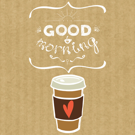 Cartoon morning cup of coffee. Hand drawn doodle cup of coffee to go and hand written lettering Good Morning, isolated on brown kraft paper background. Stock Illustratie