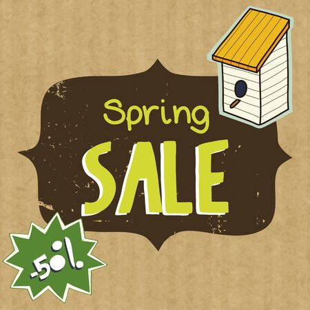 kraft paper: Spring sale illustration with Sale lettering, birdhouse and hand drawn banner isolated on kraft paper background.