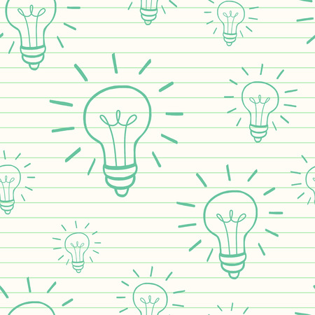 tiling background: Cute hand drawn seamless pattern with doodle light bulbs on lined notepaper background. Cartoon tiling background.
