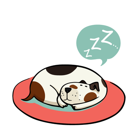 Cute cartoon dog, sleeping on the mat. Hand drawn doodle spotted dog isolated on the white background.