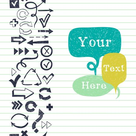 arrow icons: Vertical seamless pattern with arrows, checkmarks and checkboxes drawn in a doodled style and speech bubbles for the text on lined notepaper background. Illustration