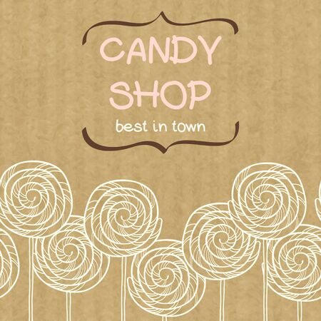 kraft: Cute seamless pattern made of hand drawn doodle caramel candies with text box in shape of curved brackets. Cartoon sweets isolated on brown kraft paper background.