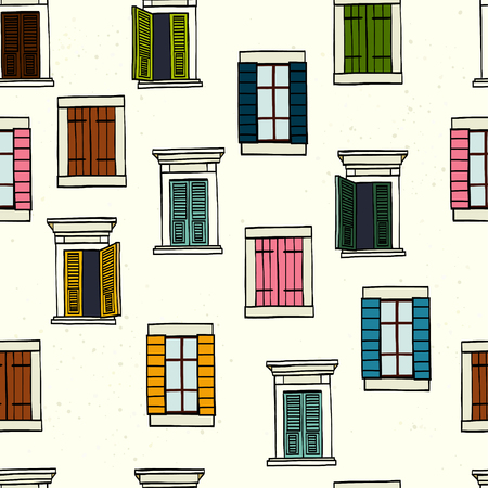 Seamless pattern made of colorful hand drawn sketchy italian windows on white background.
