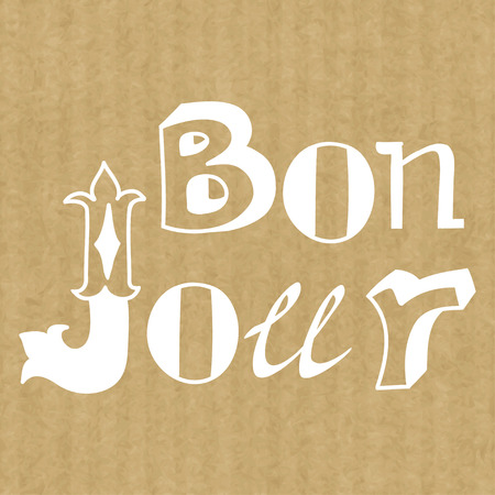 bonjour: Creative graphic message made of different hand drawn letters. Hand drawn lettering Bonjour (Hello) on brown kraft paper texture.